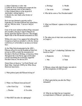 Info Reading Text - US Presidents: Millard Fillmore (no prep/sub plans)