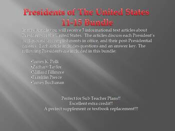 Info Reading Text - US Presidents: Presidents 11-15 Bundle (no prep/sub plans)