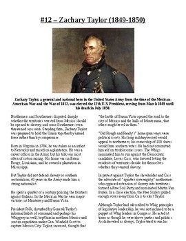Info Reading Text - US Presidents: Zachary Taylor (no prep/sub plans)
