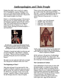 Info Reading Text - Understanding the Past: Anthropologists and their People