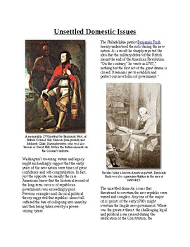 Info Reading Text - Unsettled Domestic Issues: 1790's USA (no prep/sub plans)