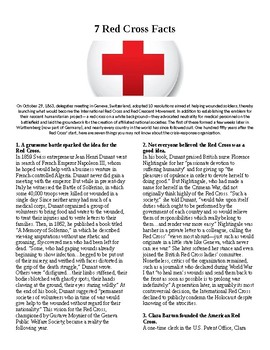 Info Reading Text/Vocab - 7 Facts about the Red Cross (no prep/sub plan)