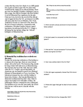 Info Reading Text/Vocab - 8 Things You Don't Know About Memorial Day (no prep)
