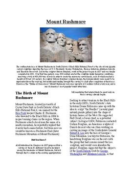 Info Reading Text/Vocab Activity - Mount Rushmore (no prep/sub plans)