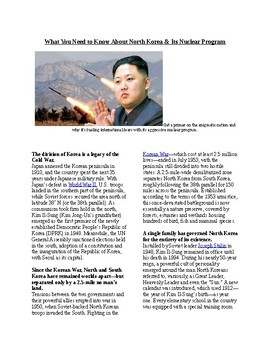 Info Reading Text/Vocab Activity: North Korea and Kim Jong-un (no prep/sub plan)