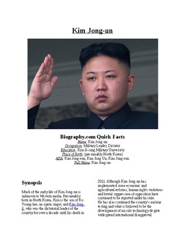 Info Reading Text/Vocab Activity: Rise of Kim Jong-un (no prep/sub plans)