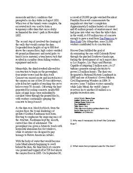Info Reading Text/Vocab Activity - The Hoover Dam (no prep/sub plans)