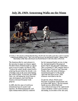 Info Reading Text/Vocab - Armstrong Walks on the Moon (no prep/sub plans)