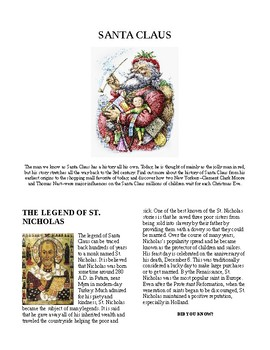 Info Reading Text/Vocab - Christmas: History of Santa Claus (no prep/sub plans)