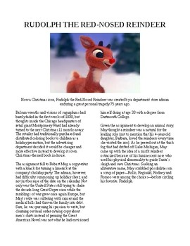 Info Reading Text/Vocab - Christmas: Rudolph the Red Nosed Reindeer (no prep)