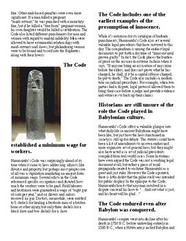Info Reading Text/Vocab - Hammurabi's Code (no prep/sub plan)
