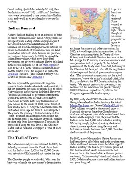 Info Reading Text/Vocab - Historical Events: The Trail of Tears (no prep/sub)