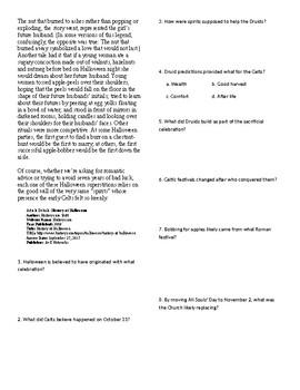 Info Reading Text/Vocab: History of Halloween (no prep/sub plans)