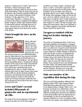 Info Reading Text/Vocab - Little Known Facts about Lewis and Clark (no prep/sub)