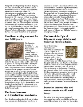 Info Reading Text/Vocab - Little Known Facts about Sumerians (no prep/sub plan)