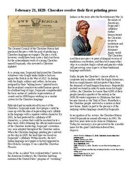 Info Reading Text/Vocab - Sequoyah and the Cherokee Print Press (no prep/sub)