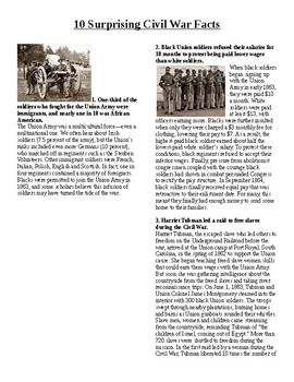 Info Reading Text/Vocab - Surprising Facts about the Civil