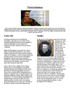 Info Reading Text/Vocab - The Life of Nostradamus (no prep/sub plans)