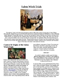 Info Reading Text/Vocab - Halloween: The Salem Witch Trials (no prep/sub plans)