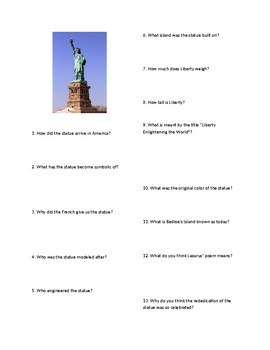 Info Reading Text/Vocab - The Statue of Liberty Arrives (no prep/sub plan)