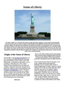 Info Reading Text/Vocab - The Statue of Liberty (no prep/sub plan)