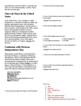 Info Reading Text/Vocab - US Holidays: Cinco de Mayo (no prep/sub plan)