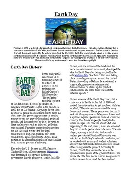 Info Reading Text/Vocab - US Holidays: Earth Day (no prep/sub plan)