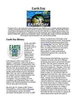 Info Reading Text/Vocab - US Holidays: Earth Day (no prep/sub plan)