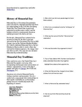 Info Reading Text/Vocab - US Holidays: Memorial Day (no prep/sub plan)
