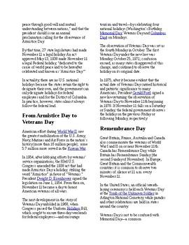 Info Reading Text/Vocab - US Holidays: Veterans Day (no prep/sub plan)