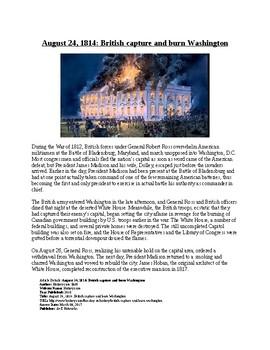Info Reading Text - War of 1812: British Burn Washington DC (no prep/sub plans)