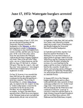 Info Reading Text - Watergate Burglars Arrested (no prep/sub plans)