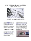 Info Reading Text - Weird ways people try to avoid paying taxes (no prep/sub)