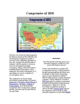 Info Reading Text - Westward Expansion: Compromise of 1850 (no prep/sub plan)