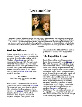 Info Reading Text - Westward Expansion: Lewis and Clark (n