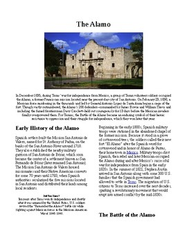 Info Reading Text - Westward Expansion: The Alamo (no prep/sub plans)