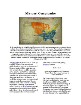 Info Reading Text - Westward Expansion: The Missouri Compromise (no prep/sub)