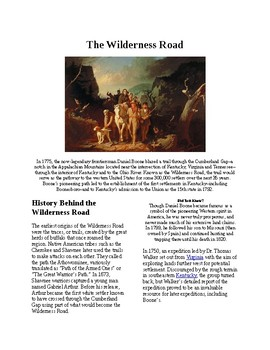 Info Reading Text - Westward Expansion: The Wilderness Road (no prep/sub plan)