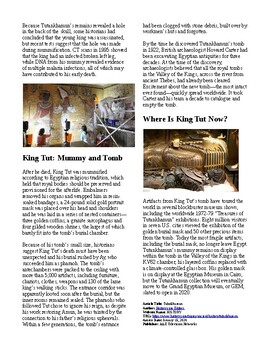 Info Reading Text - Who was King Tut? (no prep/sub plans)