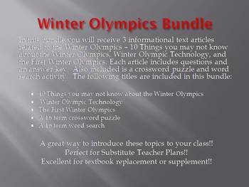 Info Reading Text - Winter Olympics Bundle (no prep/sub plans)
