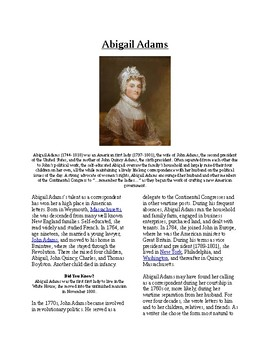 Info Reading Text - Women's History Month: Abigail Adams (no prep/sub plans)