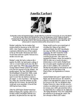 Info Reading Text - Women's History Month: Amelia Earhart (no prep/sub plan)