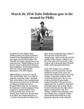 Info Reading Text - Women's History Month: Babe Didrikson goes to the mound