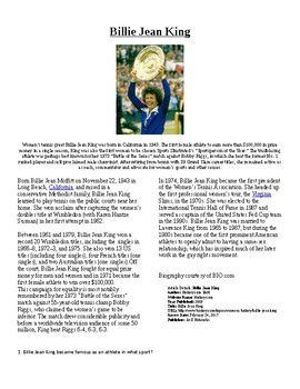 Info Reading Text - Women's History Month: Billie Jean King (no prep/sub plans)