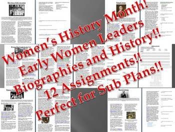 Info Reading Text - Women's History Month: Early Women's Leaders (no prep/sub)