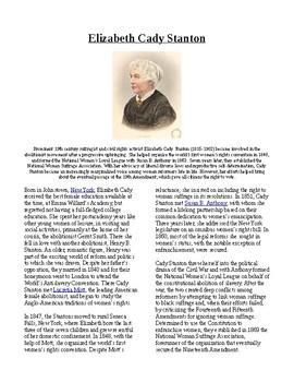 Info Reading Text - Women's History Month: Elizabeth Cady Stanton (no prep)