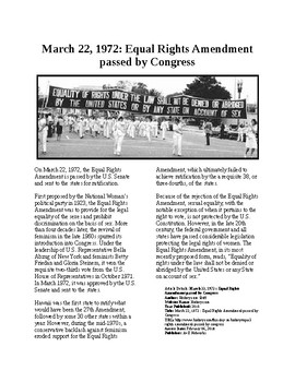 Info Reading Text - Women's History Month: Equal Rights Amendment passed