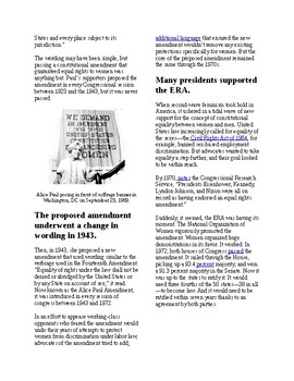 Info Reading Text - Women's History Month: Fight for the Equal Rights Amendment