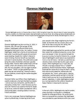 Info Read Text/Vocab- Women's History Month: Florence Nightingale (no prep/sub)