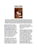 Info Reading Text - Women's History Month: Helen Keller (no prep/sub plan)